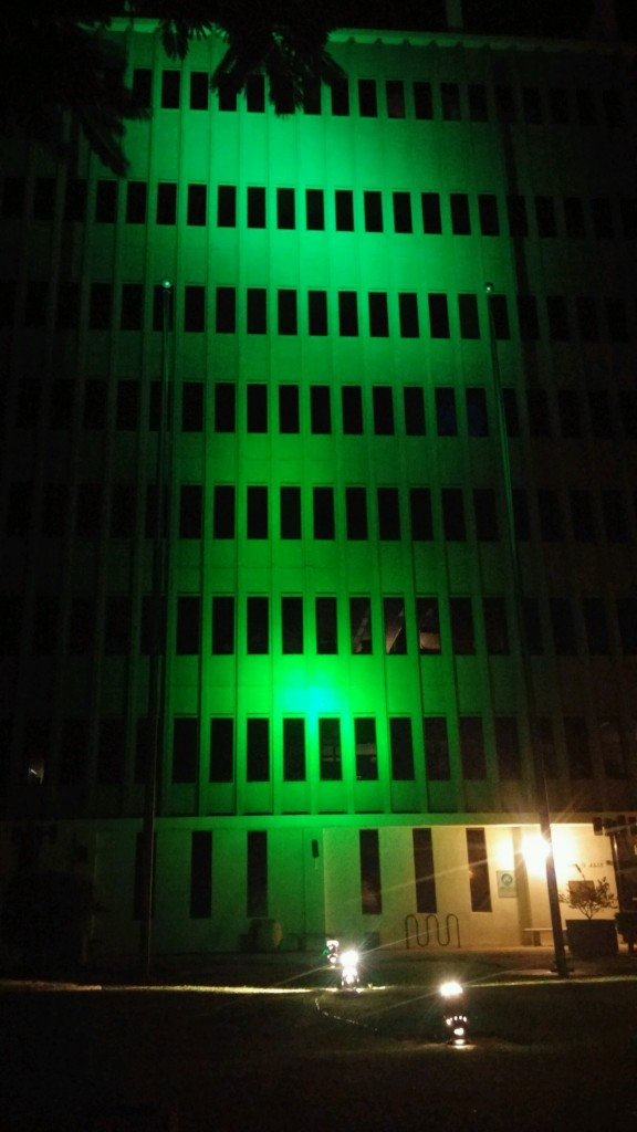 The Maui County building illuminated in green, Nov. 11, 2015. Courtesy photo.