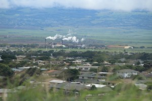 Overcast conditions in Kahului, vantage toward the HC&S Puʻunēnē sugar mill. Photo by Wendy Osher, Nov. 25, 2015.