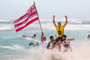 Hawai'i celebrates at the 2015 HIC Pro. Photo courtesy of World Surf League (WSL).