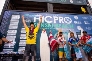 Ian Walsh and fellow surfers on the podium at the 2015 HIC Pro. Photo courtesy of World Surf League (WSL).