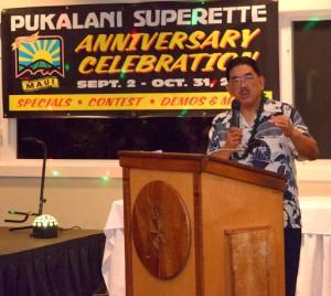 Pukalani Superette owner Aric Nakashima speaks at the company's 60th Anniversary celebration.