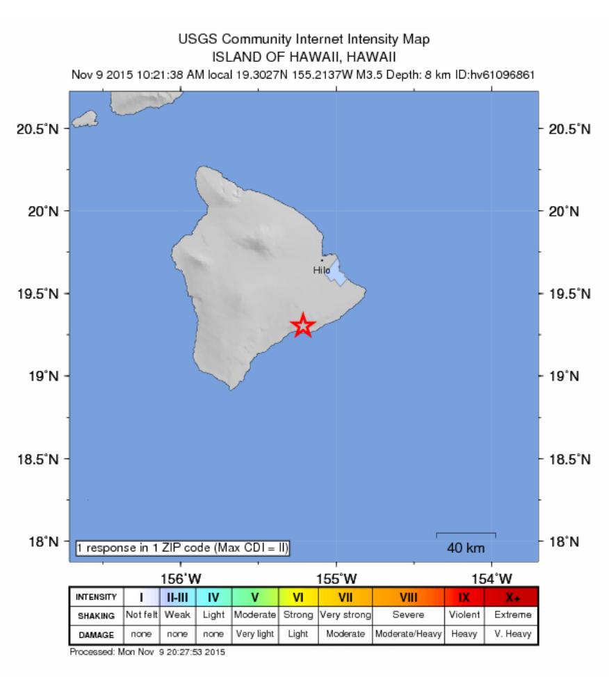 Earthquake map courtesy USGS.