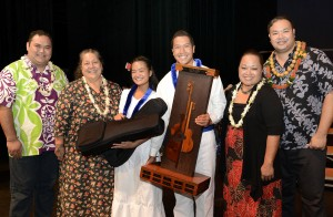 Pomaikaʻi Krueger, Hokūlani Holt, and Reiko Fukino and Daryl Fujiwara flank representatives from Kamehameha Schools Maui ʻOpio Division / Grades 9-12, Hawaiian Language, Overall and ʻOpio Division Winners. Photo credit: Steve Brinkman Photography