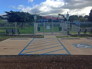 Upcountry Dog Park ADA parking and double gates.
