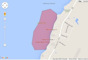 Kahana brown water advisory map. Credit: State Department of Health/Google.