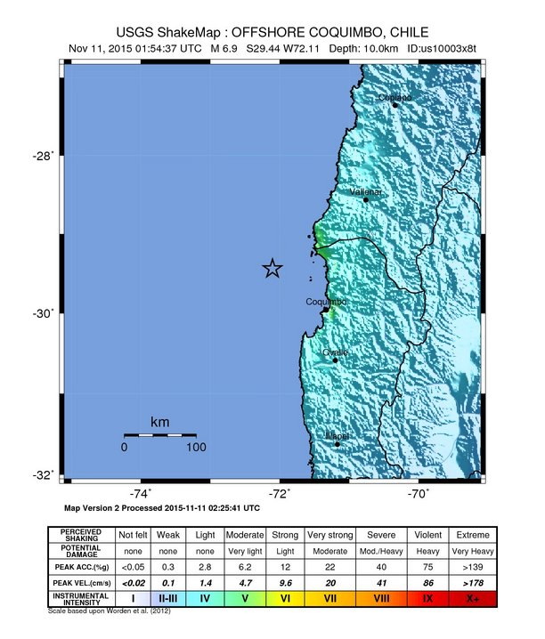 Chile Quake 11/10/15, Shake Map credit: USGS/PTWC.