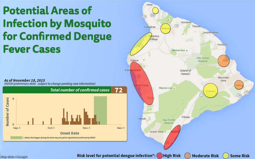 Potential areas of infection by mosquitoes for confirmed dengue fever cases. Nov. 18, 2015 map. Image Credit: DOH. *Risk levels of areas where confirmed cases may have contracted dengue fever are determined by factors including the number of confirmed cases who reported visiting those areas, as well as observed mosquito activity. Individuals should always protect themselves against mosquitoes and mosquito bites island-wide; extra precaution should be taken in areas of risk.