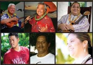 Entertainment includes: (top row left to right) Uncle Richard Hoʻopiʻi, Uncle George Kahumoku, Kumu Uluwehi Guerrero and Hālau Hula Kauluokalā, (bottom row, left to right) Neal Yamamura and the Lāʻau Street String Band, Homestead, and Kumu Kahulu Maluo and Hālau Hula Kamaluokaleihulu.