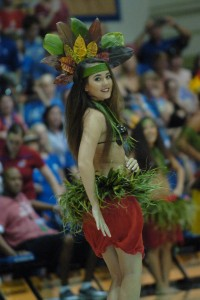 One of Maui's talented hula dancers entertains the crowd during a break in the action at the Maui Invitational Tournament. Photo by Joel B. Tamayo.