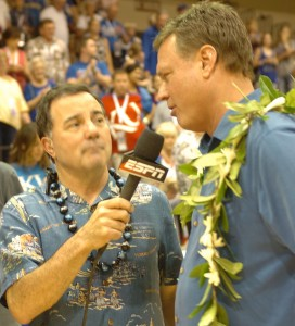 Kansas head coach Bill Self talks with ESPN after the game. Photo by Joel B. Tamayo.