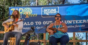 """Paula Fuga performs at the 5th annual """"Zip for the Trees"""" fundraiser on Maui. Photo credit: Skyline Eco-Adventures."""