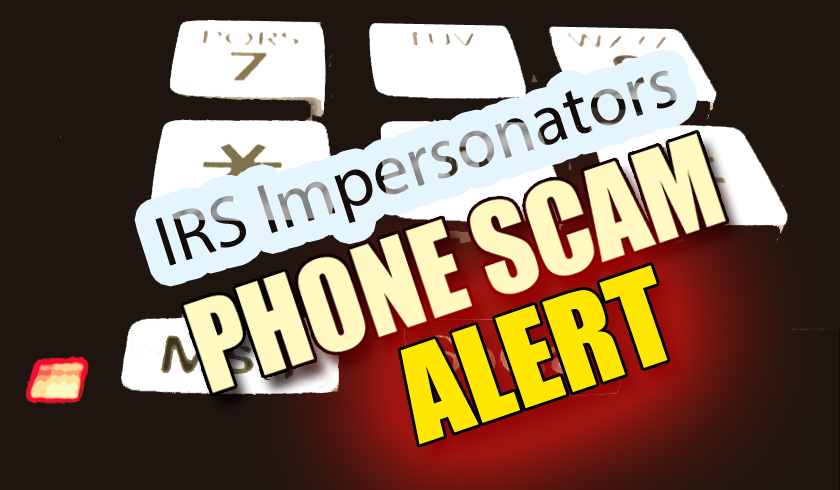 IRS Impersonators phone scam. Graphic by Wendy Osher / Maui Now.