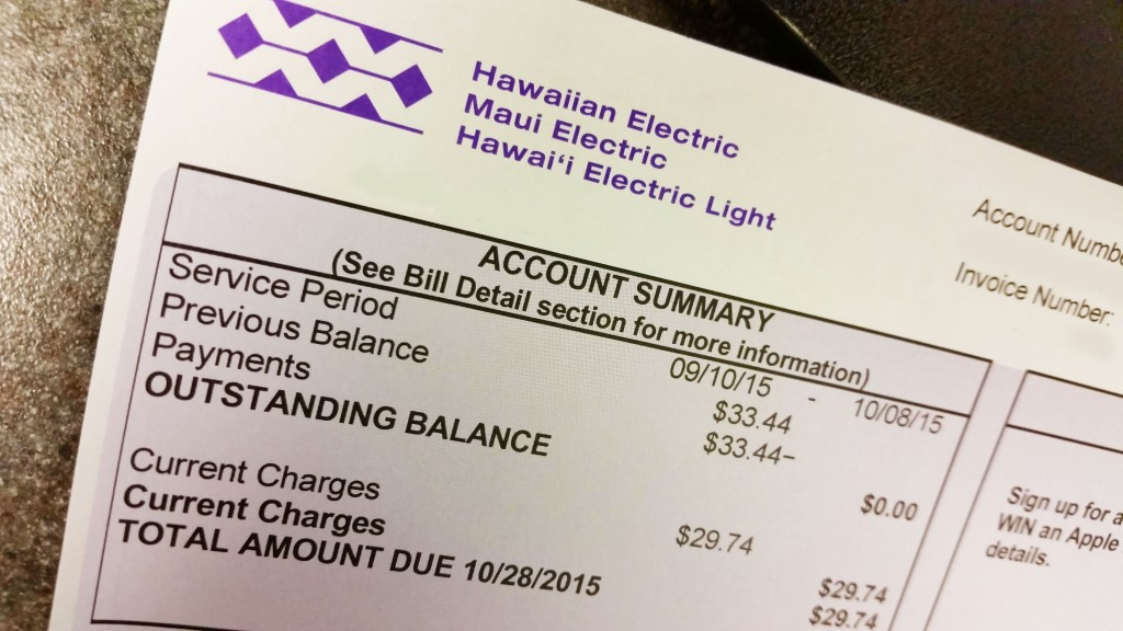 Maui Electric customer bill. Courtesy photo.