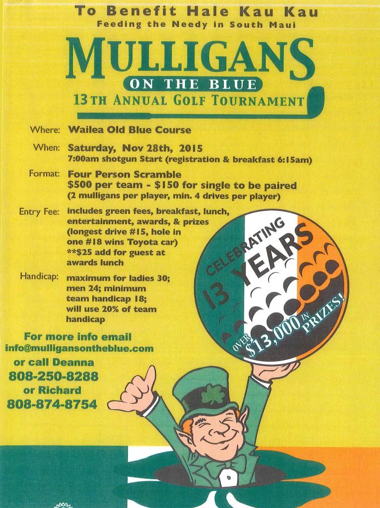Mulligan's event flyer.