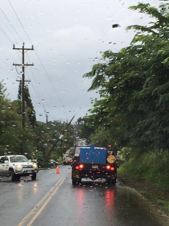 Utility pole repairs, Maui, 11/20/15. Photo credit: Nikki Schenfeld