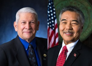 Senator Sam Slom (left); Governor David Ige (right).