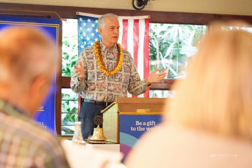 Upcountry Councilmember Mike White (Makawao, Ha'ikū, Pā'ia), chair of the Maui County Council, spoke to a concerned group of Rotarians and guests at the Rotary Club of Upcountry Maui meeting on Friday morning, Nov. 13. Mike Sidney Photography.