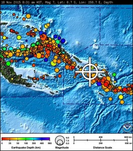 Solomon Islands earthquake map, 11/18/15. Image credit: Pacific Tsunami Warning Center.