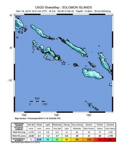 Solomon Islands earthquake map, 11/18/15. Image credit: USGS.