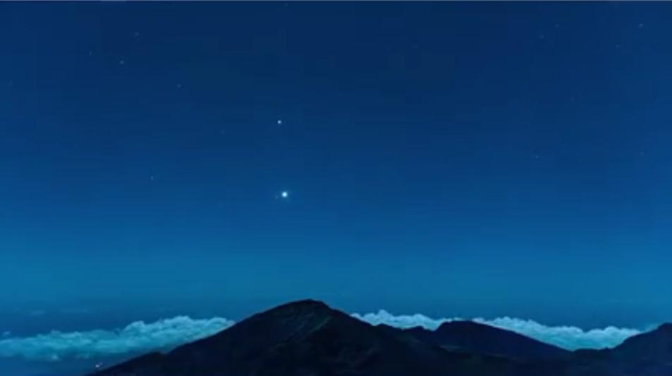 Jupiter, Mars, and Venus rising over Haleakalā, Maui. (November 2015) Image credit: Chris Archer.