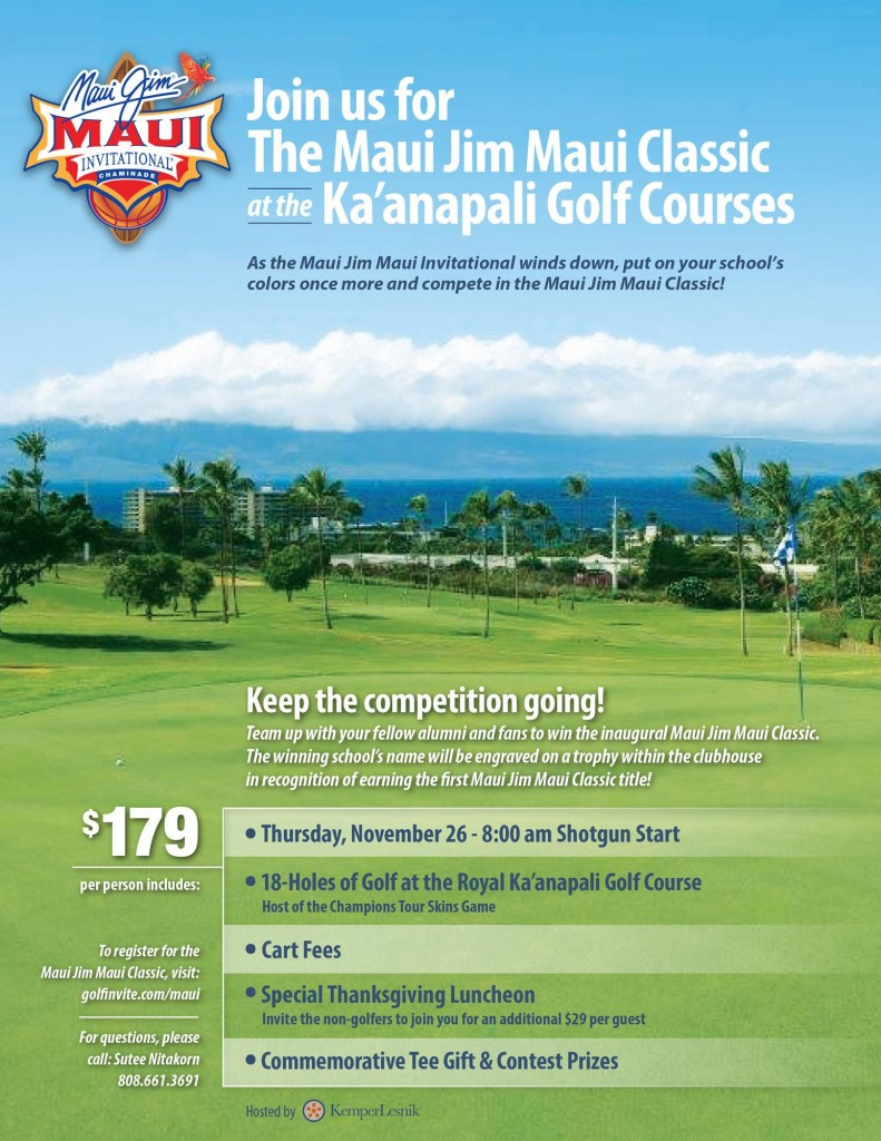 Maui Jim Maui Classic golf, event flyer.