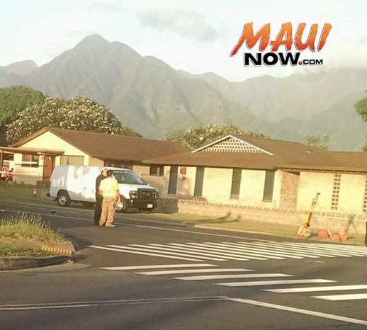 Kahului traffic accident, Nov. 3, 2015.  Courtesy photo. Note: Photo is cropped to focus on investigation aspect of the scene.