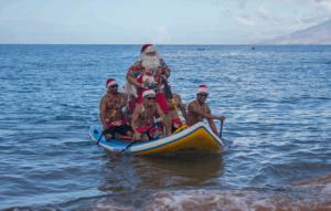 Left to Right: Ralph Valite, Kip Larson (santa), Rod Sato, Dino Miranda and Danilo Gines. Credit: Makena Beach & Golf Resort