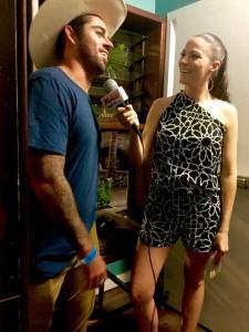 Malika Dudley interviews Peʻahi Challenge winner Billy Kemper. Photo credit: Jack Dugan, Kalani Prince.