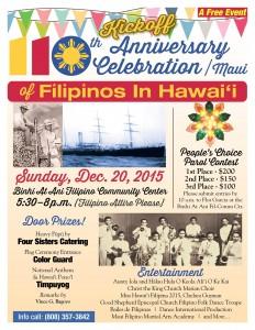 100th Anniversary Celebration of Filipinos in Hawaiʻi. Event flyer.