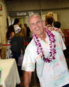 """Virgin America commenced service from San Francisco to Kahului, Maui. The inaugural flight included a """"Spray of Aloha"""" and water blessing as the aircraft landed on Maui; a fresh flower lei greeting; and Made in Maui amenity bag; hula dancing and Hawaiian music. Photo credit: Maui Visitors and Convention Bureau Virgin America."""