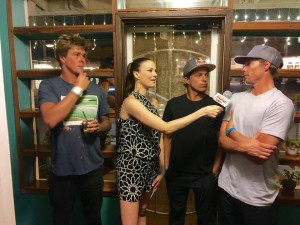 Malika Dudley interviews three of the worlds top big wave surfers (also Maui locals): Ian Walsh, Kai Lenny and Albee Layer (right to left). Photo credit: Jack Dugan, Kalani Prince.