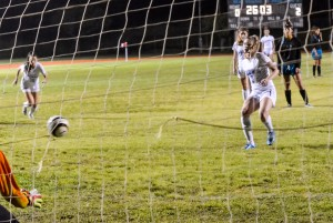 Baldwin's Skylar Littlefield added the Bears' final goal on this penalty kick in the 27th minute Friday to beat King Kekaulike, 3-2. Photo by Rodney S. Yap.