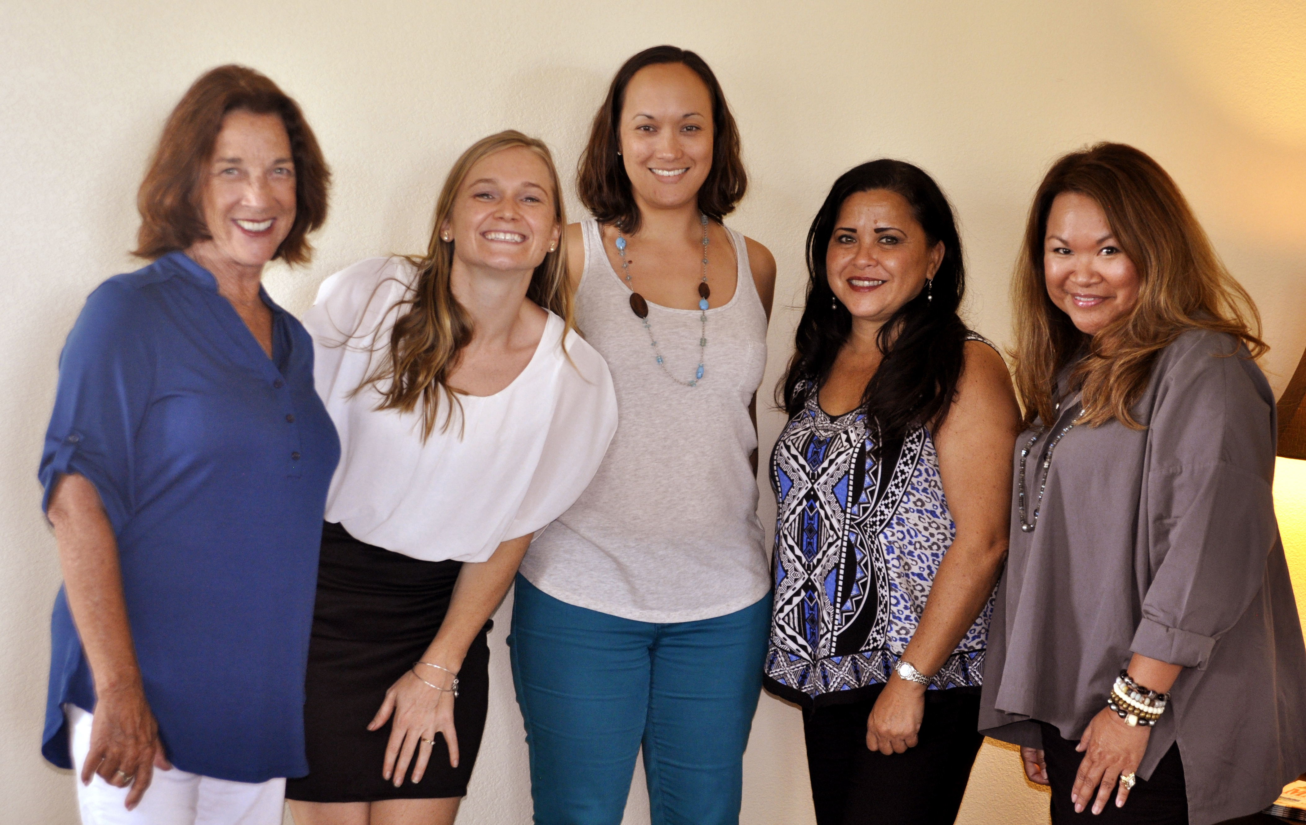 Summer 2014 session: ( left to right) Francesca Carey of Fabmac Homes, Danielle Miller of Miller Media Management, Elizabeth Tomoso of Momma Love Baby Maternity, Francine Fernandez of Sassy Things Maui and Jennifer Powell of Wailea Realty.