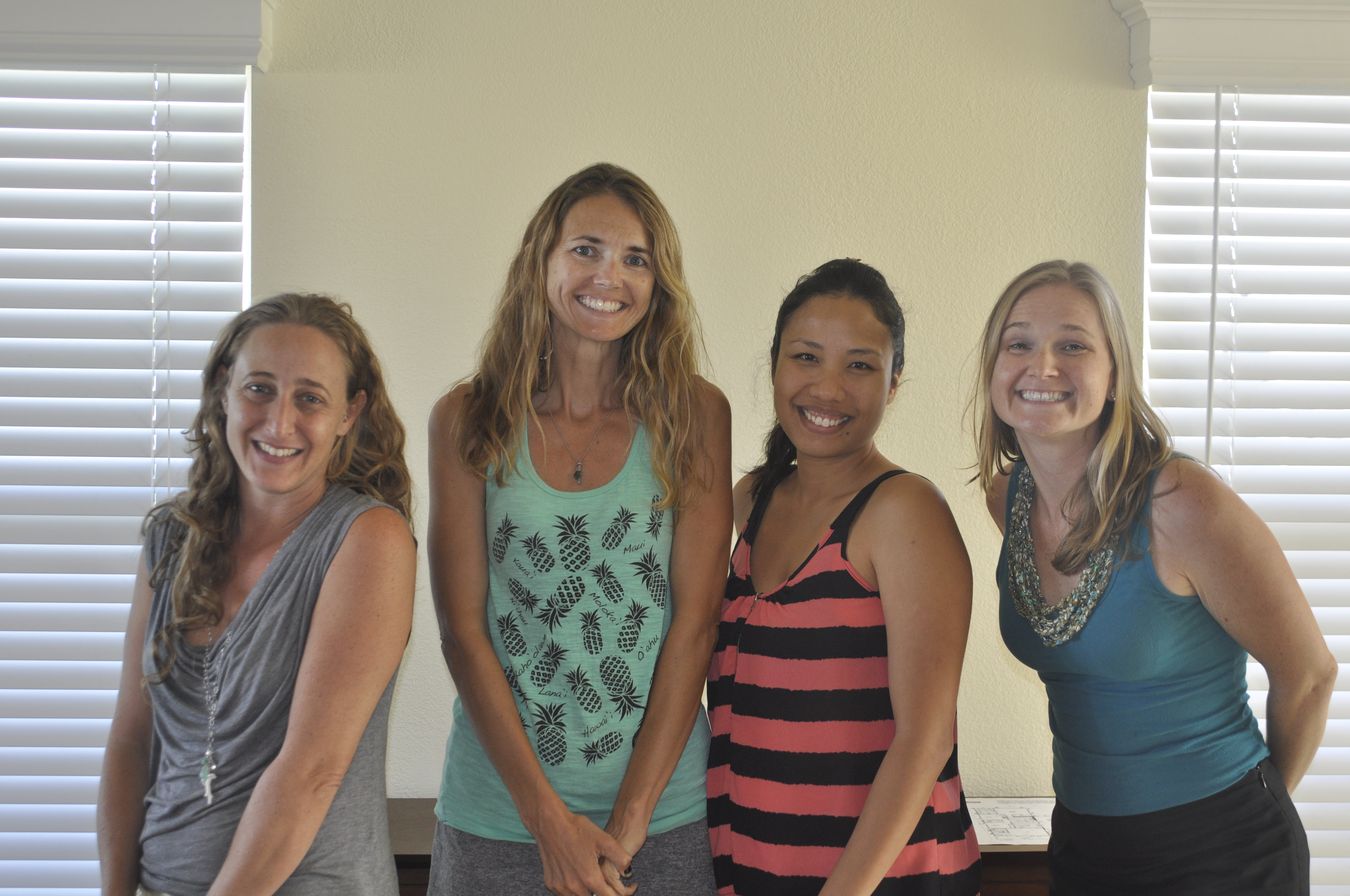 Winter 2015 session participants: (left to right) Arica Sobel of Maui Business Photography, Bridgett Parker of Yelp Maui & Jamberry Nails, Jennilin Cachola of Cupcake Ladies Catering Co. and Danielle Miller of Miller Media Management.