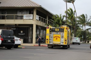 Maui firefighters responded to several calls of individuals stuck in elevators following the power outage. Crews responded to the main elevator at the mall and the elevator at a doctor's office located at the west end of the Kaʻahumanu Center. Photo 12/18/15, by Wendy Osher.