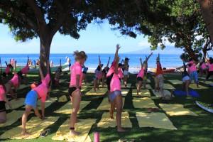 Yoga class on the oceanfront Residence Club Lawn at Hyatt Regency Maui. Courtesy photo.
