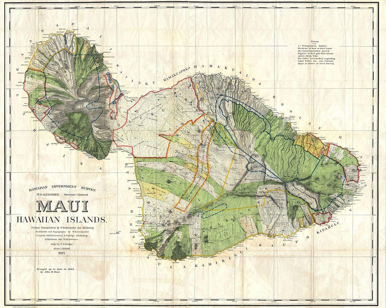 Photo source: wikimedia.org/wikipedia/commons/thumb/6/6e/1885_De_Witt_Alexander_Wall_Map_of_Maui,_Hawaii_-_Geographicus_-_Maui-lo-1885.jpg/1280px-1885_De_Witt_Alexander_Wall_Map_of_Maui,_Hawaii_-_Geographicus_-_Maui-lo-1885.jpg