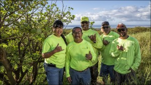 Members of Monsanto Molokaʻi's conservation team (pictured left to right): Kali Arce, Patrick Kansana, Chad Tangonan (behind Pat), Kenneth Kaai, Freddie Manaigo.