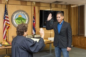 Stewart Stant Swearing-In, Dec. 16, 2015. Photo credit: County of Maui.