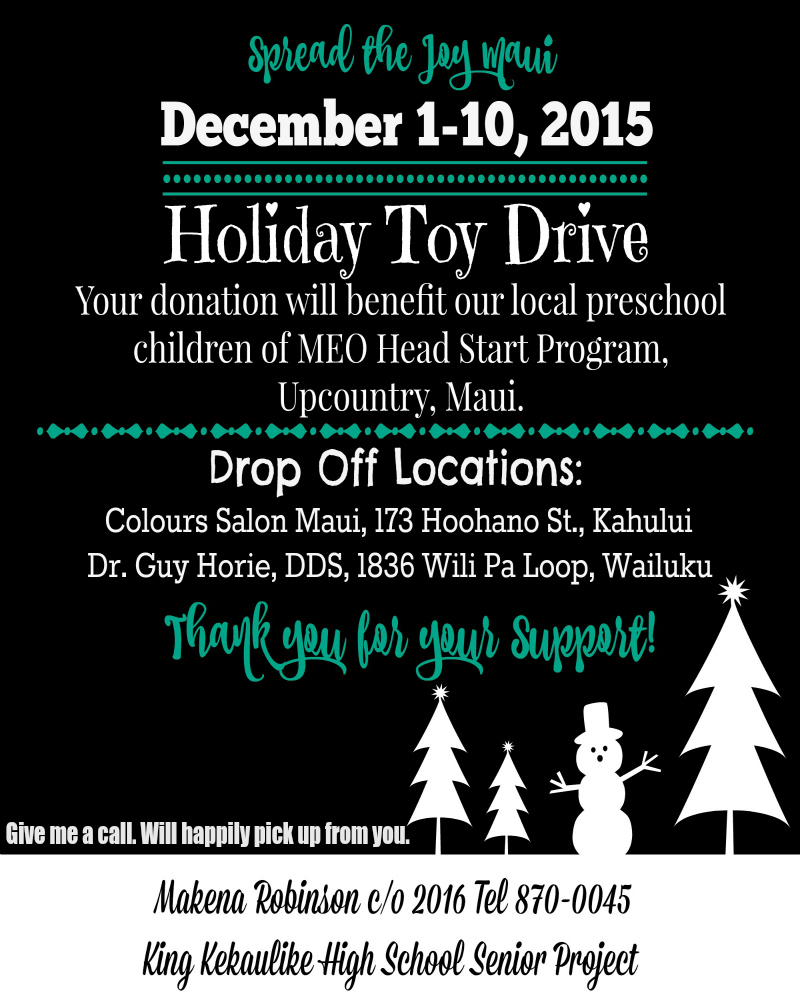 Toy Drive poster provided by Makena Robinson.