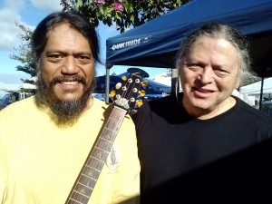Upcountry sound is the speciality of Keōkea recording artist Richard Dancil (left) and Ha`iku musician Wes Furumoto, who will serenade shoppers at a Holiday Crafts at Keokea Marketplace event from 8 a.m. to 2 p.m. Dec. 13. Photo credit: Kekoa Enomoto.