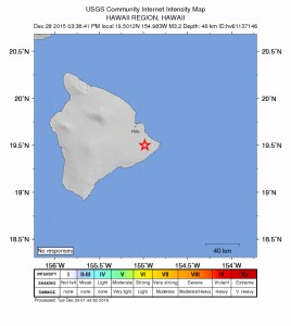 Hawaiʻi Earthquake map, Dec. 28, 2015. Image credit: USGS/HVO.