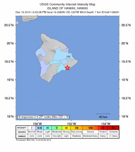Hawaiʻi Island Earthquake, Dec. 16, 2015.  Image courtesy USGS/HVO.