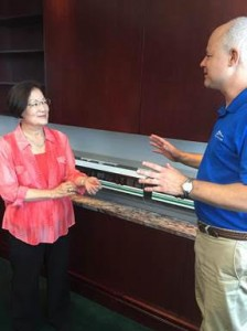 Senator Hirono is briefed during a tour of the Honolulu rail system. Courtesy photo.