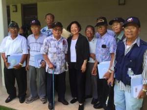 Senator Hirono with Filipino World War II veterans. Courtesy photo.