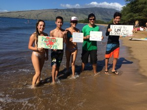 (left to right) Kalanimakali'i, Troy Lau, Malia Cahill, Jason Schwien and Bryce Clearing Sky.