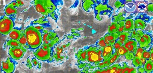 Satellite mapping overlay of all cyclones around the Hawaiian Islands. Image credit: US National Weather Service Honolulu & Central Pacific Hurricane Center. Click on image to view in greater detail.