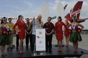 Virgin America, Honolulu to San Francisco inaugural flight.