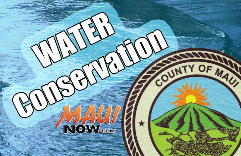 Water conservation request. Maui Now graphic.