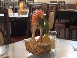 Protea on the tables at Kula Bistro. Photo by Kiaora Bohlool.